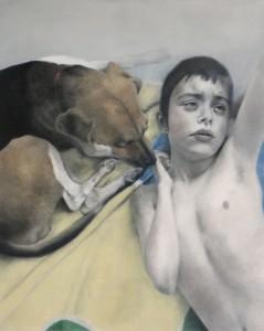 Martin-Deborah-Buhdda-with-Service-Dog-Mouse-2017-42x52